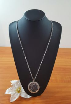 Silver necklace with Juliana coin 1945-1970, 835k
