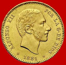 Spain – Alfonso XII – 25 pesetas gold coin – 1881 – Madrid