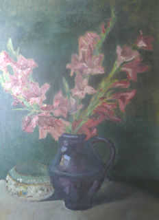 Alfred Buchta (1880-1952) - Flower still life with red Gladiolas