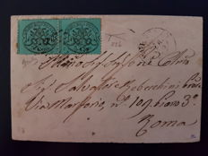 Papal State 1868 – 5 cents, greenish pair, on envelope