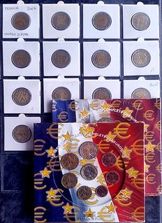 France – 2 euro 2007/2016 (13 pieces) + Year pack 2003/04