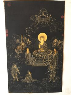 Thangka (Silk fabric mounted on kraft paper) - Nepal - late 20th century