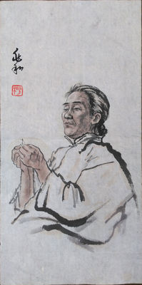 "Ink painting ""Lady threading a needle"" (reproduction Jiang Zhaohe) - China - late 20th century"