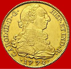 Spain - Carlos III (1759 - 1788), doubloon of 8 gold escudos - 1774 - Madrid