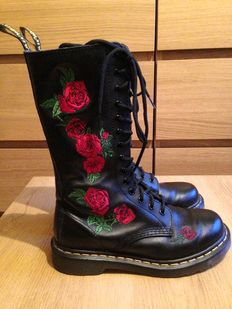 Dr Martens -black leather high boots, shoes - red roses, floral prints - series Made like no other shoe on Earth