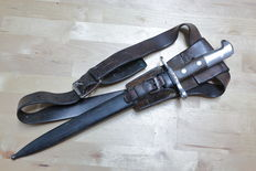 Swiss Army M1918 bayonet with sheath, leather frog and leather belt