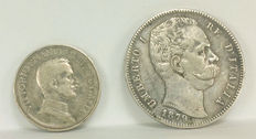 Italy - 5 Lire 1879 and 2 Lire 1914 - Silver