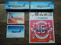 "2 collector's items Airbus ""Magritte"" and ""Trident"" of Brussels Airlines + matching postcards + inflight magazine."