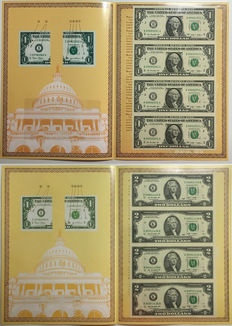 USA – 1 dollar 2009 and 2 dollar 2009 uncut sheets of 4