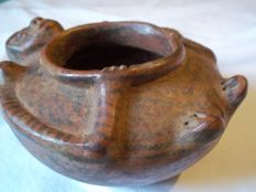 Pre-Columbian bowl with anthropomorphic shape - 13 x 6,5 x 5