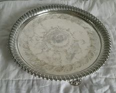 Antique English Silver Plated plate with decorated support feet, around 1880