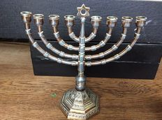 Jewish candlestick, silver-plated, 2nd hald of 20th century
