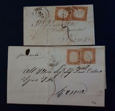 Italy, Sardinia, 1863 – 2 letters with postage (10 cents, different shades)