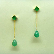 18K gold emerald 5.44ct  Earrings