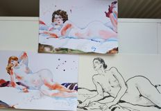 Original work; Lot of 3 Nude paintings  by Ewa L. -2016 /2017