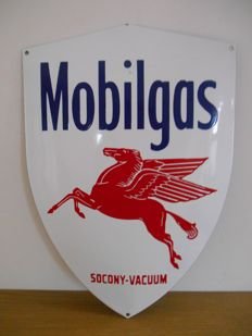 Enamel advertising sign for Mobilgas from 1980