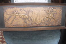 Embossed brass relief work, grasshopper and crab, unknown signature