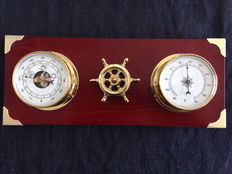 Weather station thermometer and hygrometer with brass rudder