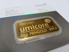 50 gr, Umicore sealed with certificate