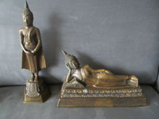 Lot with two bronze Buddha statues – Thailand – second half 20th century