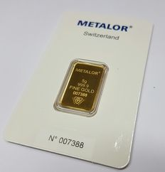 Gold bar, 5 gr, Metalor Switzerland with certificate