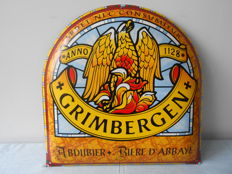Nice Billboard in enamel-Grimbergen Abbey beer-1990s