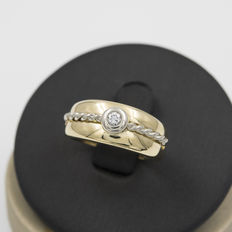 18 kt yellow gold - Cocktail ring - 1 central brilliant cut diamond 0.10 ct - Ring size 12.5 (Spain)