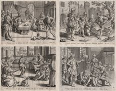 Anonymus 16th century - The unmerciful servant - A group of four prints formerly attributed to Hieronymus Wierix - 1585
