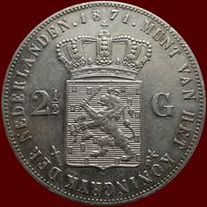 The Netherlands – 2½ guilder coin 1871 Willem III – Silver