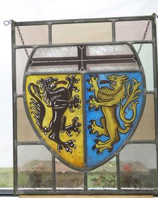 stained glass window, coat of arms with two lions, signed Pitt van Treeck