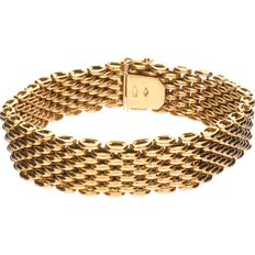 Yellow gold wide link bracelet of 18 kt