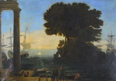 Style of Claude Le Lorrain (18th century) - A mediterranean port.