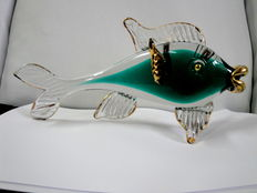 A Vintage Murano Glass Carp Fish with Gold Accents