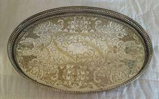 Antique Raised Tray in English Silver Plate, by Viners Sheffield, around 1890