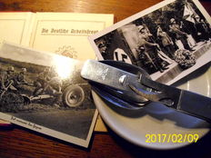 German labour front membership book 1936 - plate 1938 - 2nd photo 1940 - cutlery 1943