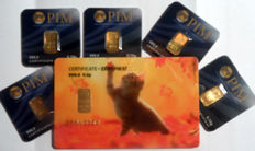6 pcs. gold bars Nadir PIM fine gold 999.9/1000 sealed 24 Karat Goldbarren Bullion Gold LBMA certified ;  1 peace 0.5g  Giftcard Cat Katze,  5 pcs. Goldbars each 0.10g