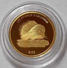Congo - 20 Francs 2003 Endangered Wildlife Skunk - Gold 1/25 oz