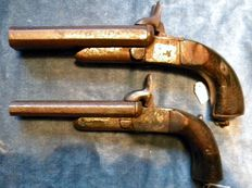 2 antique pin fire pistols ca 1840/1860. 990/1/2.