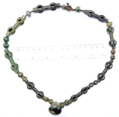 Viking Bronze and Glass Beads Necklace - 600 mm