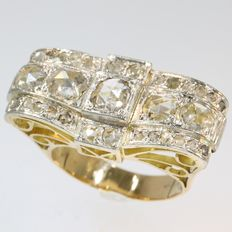 Diamond loaded Retro bow ring or butterfly ring - circa 1940