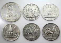 Kingdom of Italy, 1913-1936 – 1, 5, and 10 Lire coins (6 coins total) – Vittorio Emanuele III – Silver.
