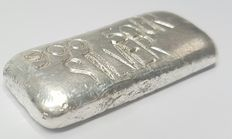 Hand Cast Silver bar of 50 grams