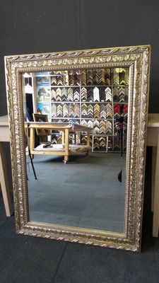 Large mirror with facet - Silver - Wide ornamental frame - France - 20th century.