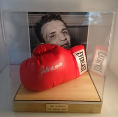 "Jake ""Raging Bull"" LaMotta -  Autographed Everlast Boxing Glove with COA JSA in Large Luxury Display Case"