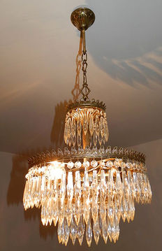 Magnificent chandelier pendants in brass and crystal, second half of the 20th century