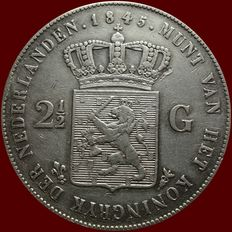 The Netherlands - 2½ guilder coin 1845 (lily with pearl on the band), Willem II - silver