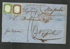 Sardinia, 1855/63 - 5 cents, dark yellow-green (Sassone # 13Ae); 10 cents, dark umber (Sassone 14c), used on letter from Genoa to Naples.