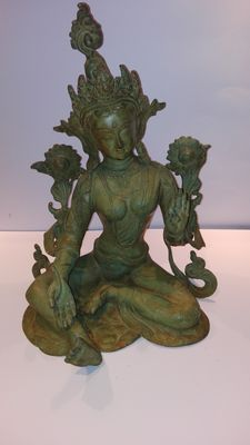 Green Tara made of bronze, India, end 20th century