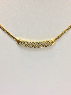 Gold necklace with diamonds of 0.60 ct