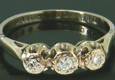 Diamond trilogy, 18K White gold, round cut diamonds,-  0.34ct., VS2 H